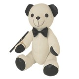Message Autograph calico Bear BLACK METALLIC Signature bear with pen