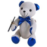Message Autograph calico bear BLUE METALLIC Signature bear with pen