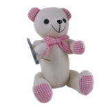 Message Autograph calico bear PINK GINGHAM Signature Bear with Pen