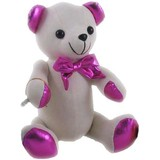 Message Autograph calico bear PINK METALLIC Signature Bear with Pen