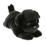 Black Pug Dog lying soft plush toy - Puddles