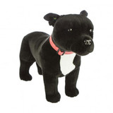 Staffy Staffordshire Bull Terrier (black) standing soft plush toy - Stanley