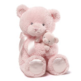 Mum & Baby Teddy Bear With Rattle Pink - Baby Gund