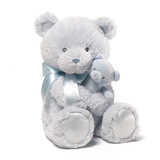 Mum & Baby Teddy Bear With Rattle Blue - Baby Gund