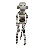 Sasha Pink and Grey Stripe Sock Monkey