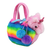 Unicorn in Fluffy Rainbow Bag - Fancy Pals